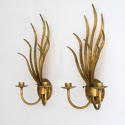 WONDERFUL PAIR OF ITALIAN GILT TOLLE LEAF WALL SCONCES - picture 2
