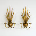 WONDERFUL PAIR OF ITALIAN GILT TOLLE LEAF WALL SCONCES - picture 3