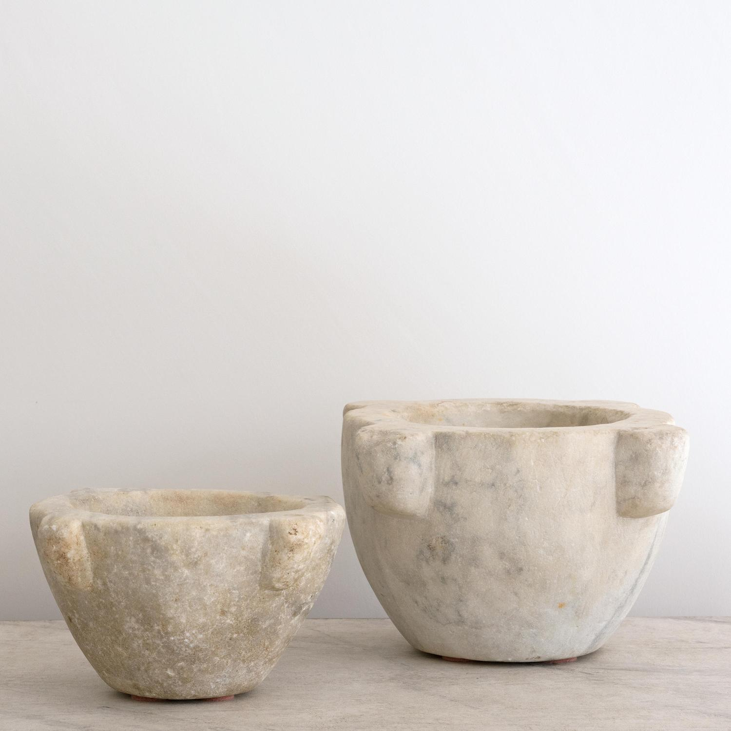 TWO 18TH CENTURY ITALIAN MARBLE MORTARS