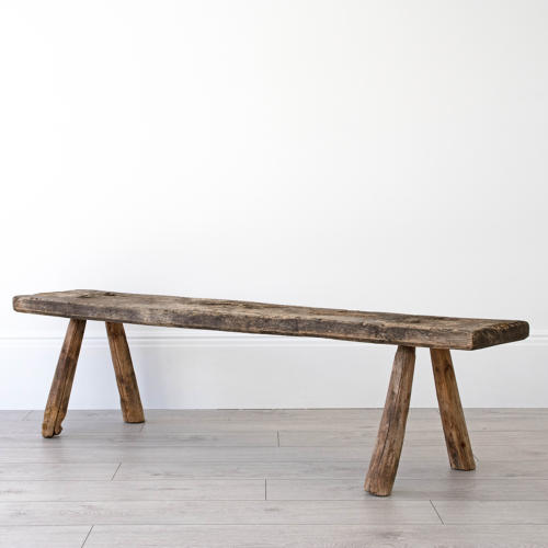 GEORGIAN ANTIQUE ELM PIG BENCH WITH WONDERFUL PATINA