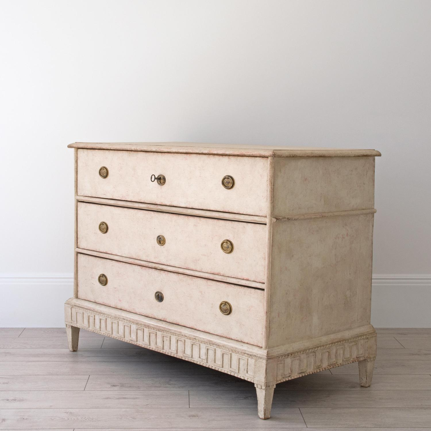 DECORATIVELY CARVED SWEDISH GUSTAVIAN PERIOD CHEST