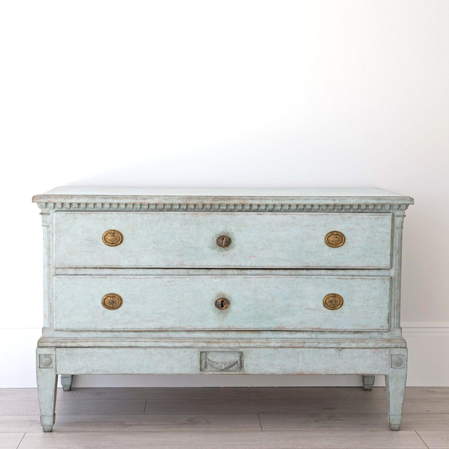 BEAUTIFUL PALE BLUE DANISH GUSTAVIAN PERIOD CHEST