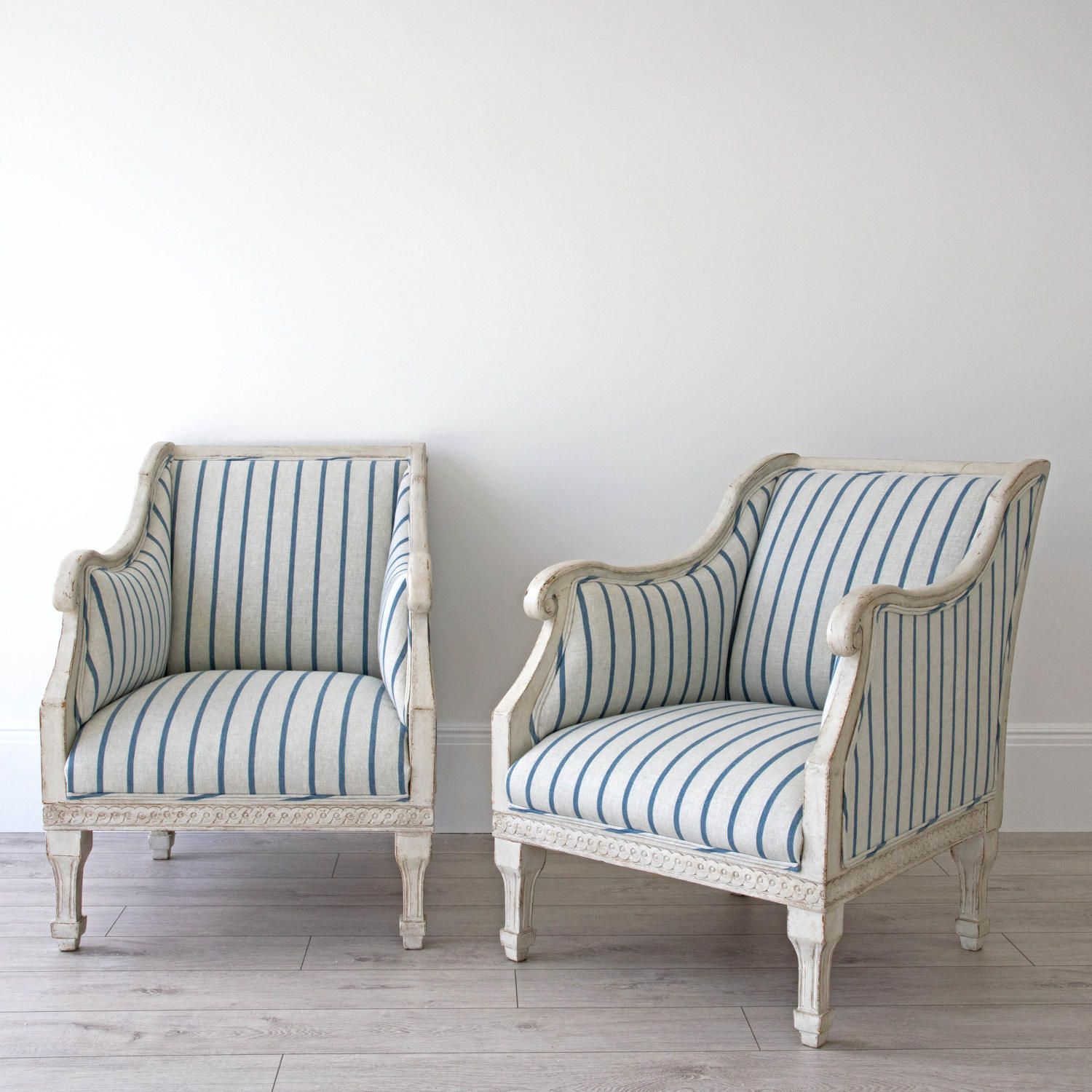 PAIR OF RICHLY CARVED SWEDISH GUSTAVIAN STYLE ARMCHAIRS
