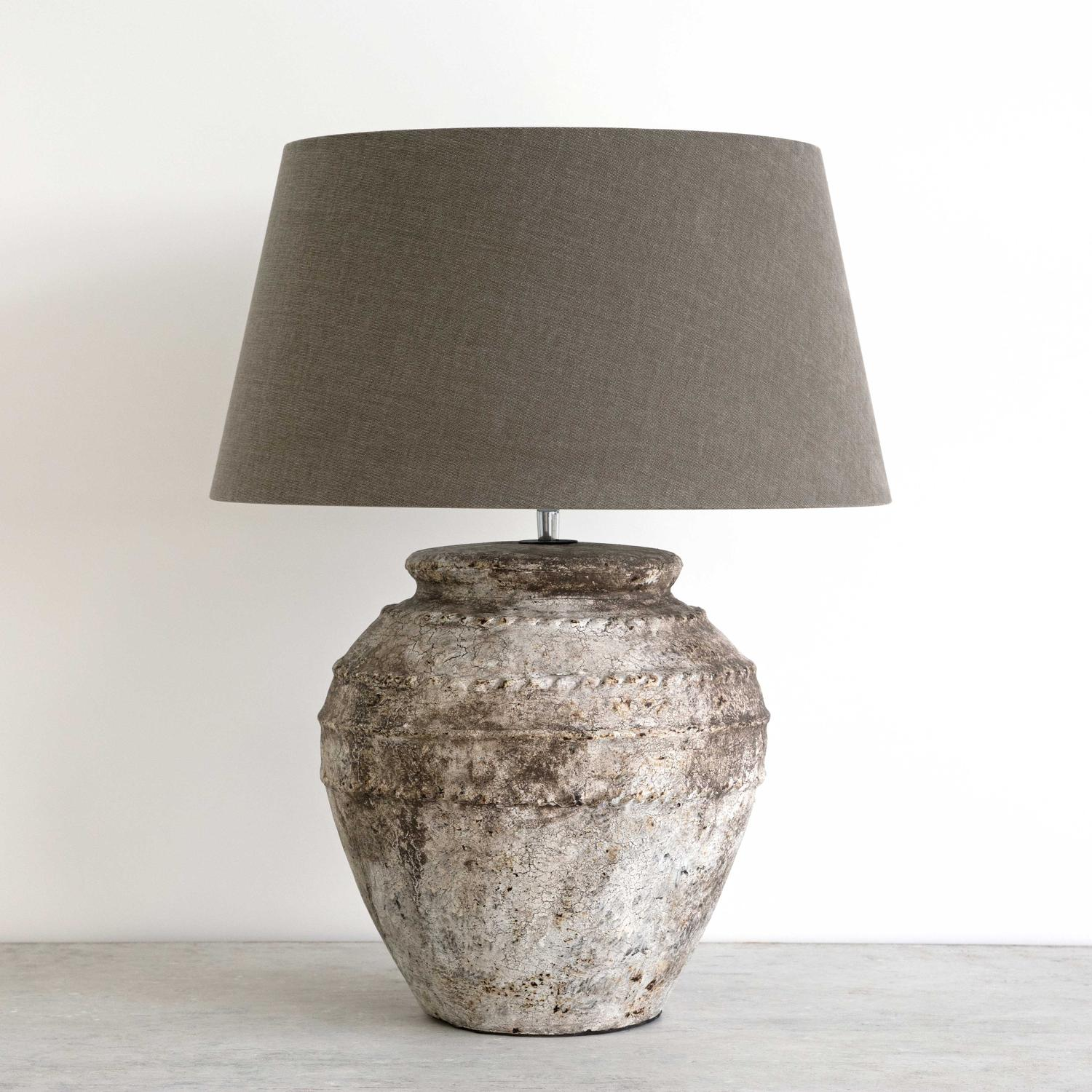Rustic Grey Stone Ceramic Jar Table Lamps In Lighting
