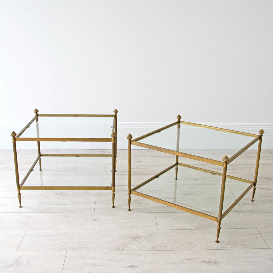 FRENCH BRASS NESTING TABLES