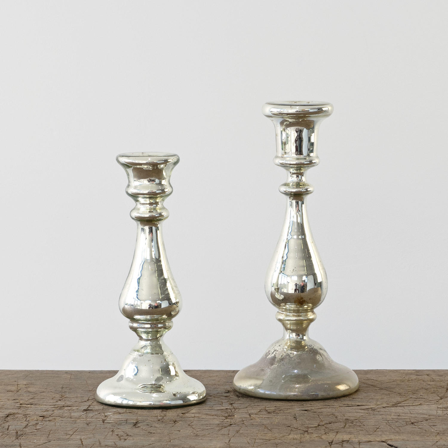 SILVERED MERCURY CANDLESTICKS