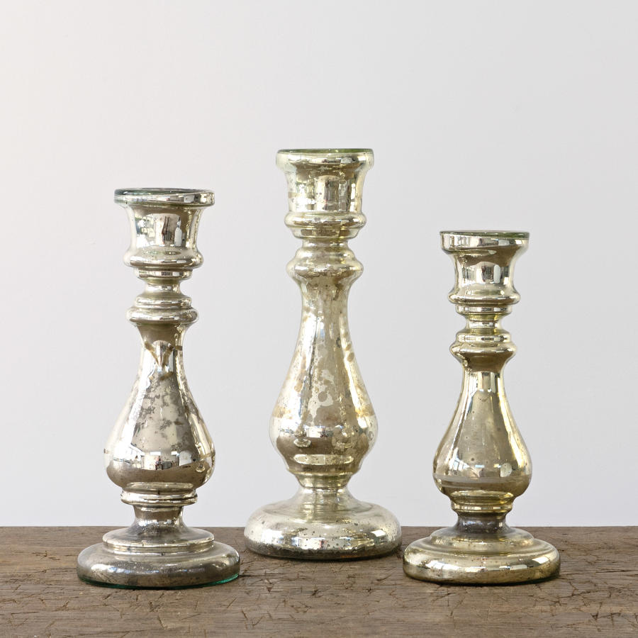 TRIO OF MERCURY CANDLESTICKS
