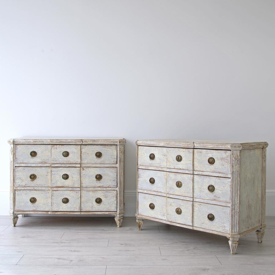 GUSTAVIAN BREAKFRONT CHESTS
