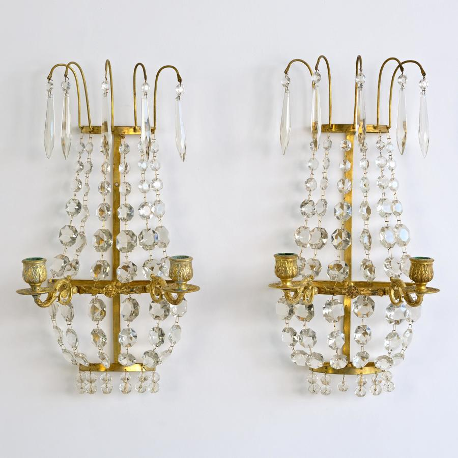 SWEDISH CRYSTAL CANDLE SCONCES