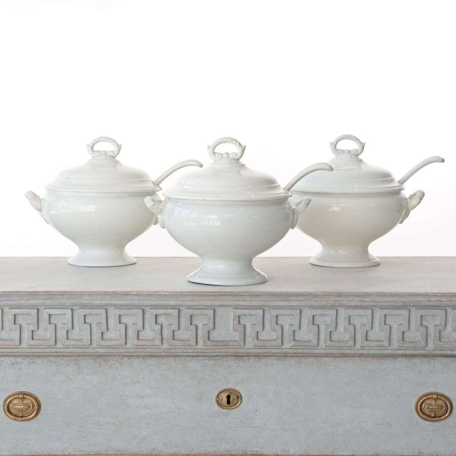 TRIO OF BELGIAN ANTIQUE TUREENS